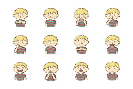 Little Boy showing different emotions. Collection of 12 hand drawn colorful illustrations isolated on white background Illustration