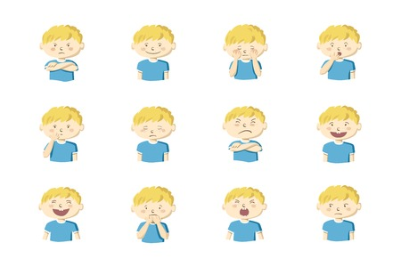 Little boy showing different emotions. Collection of 12 hand drawn colorful illustrations isolated on white background Vettoriali