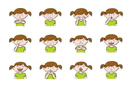 Kleines Mädchen, das verschiedene Gefühle zeigt. Sammlung von 12 handgezeichneten bunten Illustrationen auf weißem Hintergrund