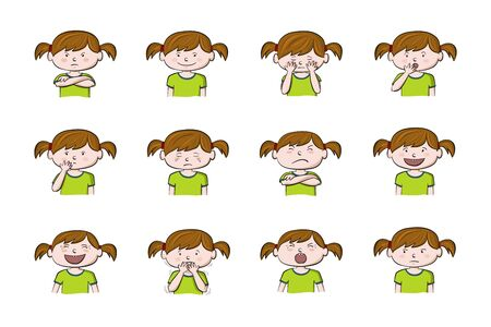 Little girl showing different emotions. Collection of 12 hand drawn colorful illustrations isolated on white background