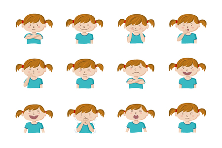 Little girl showing different emotions. Collection of 12 hand drawn colorful illustrations isolated on white background Archivio Fotografico - 127109020