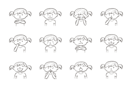 Little girl showing different emotions. Collection of 12 hand drawn line illustrations isolated on white background Archivio Fotografico - 127109021