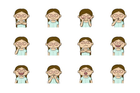 Little girl showing different emotions. Collection of 12 hand drawn colorful illustrations isolated on white background Archivio Fotografico - 126941815