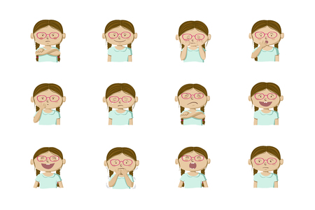 Little girl showing different emotions. Collection of 12 hand drawn colorful illustrations isolated on white background Archivio Fotografico - 126941816