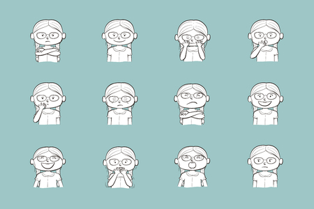 Little girl showing different emotions. Collection of 12 hand drawn line illustrations isolated on blue background