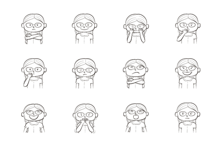 Little girl showing different emotions. Collection of 12 hand drawn line illustrations isolated on white background