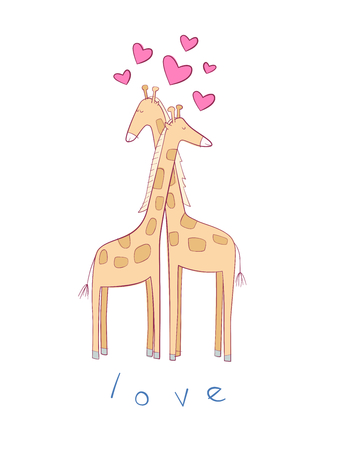 Cute illustration of giraffes in love. Perfect for valentine's card and gifts Vettoriali