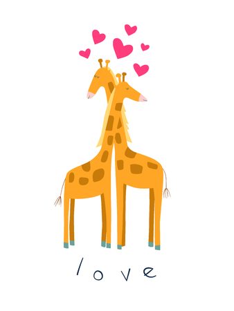 Cute illustration of giraffes in love. Perfect for valentine's card and gifts Archivio Fotografico - 126499248