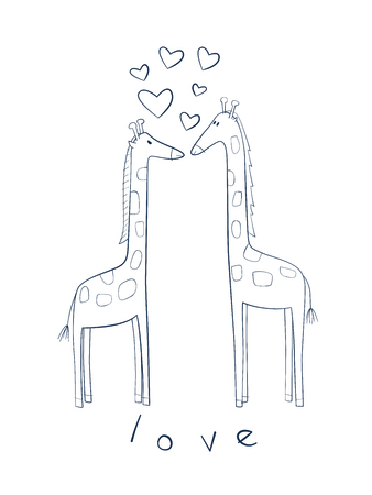 Cute illustration of giraffes in love. Perfect for valentine's card and gifts