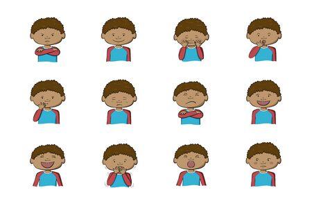 African-American boy showing different emotions. Collection of 12 hand drawn colorful illustrations isolated on white background Vettoriali