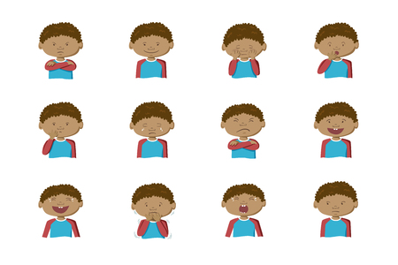 Afroamerikanischer Junge, der verschiedene Emotionen zeigt. Sammlung von 12 handgezeichneten bunten Illustrationen auf weißem Hintergrund
