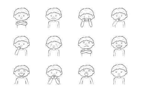 African-American boy showing different emotions. Collection of 12 hand drawn illustrations isolated on white background
