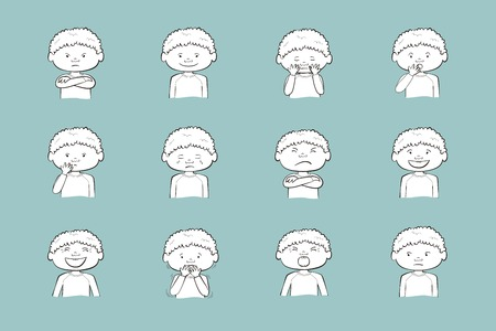 African-American boy showing different emotions. Collection of 12 hand drawn illustrations isolated on blue background Vettoriali