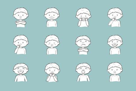 Afroamerikanischer Junge, der verschiedene Emotionen zeigt. Sammlung von 12 handgezeichneten Illustrationen auf blauem Hintergrund