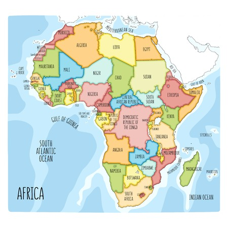 Vector political map of Africa. Colorful hand drawn illustration of the African continent with labels in English