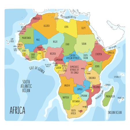 Programma politico di vettore dell'Africa. Illustrazione colorata disegnata a mano del continente africano con etichette in inglese