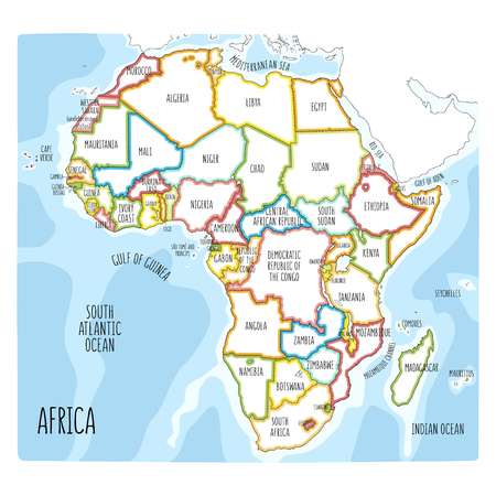 Vector political map of Africa. Colorful hand drawn illustration of the African continent with labels in English Archivio Fotografico - 124931456