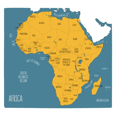 Vector political map of Africa. Hand drawn illustration of the African continent with labels in English. Yellow on blue background