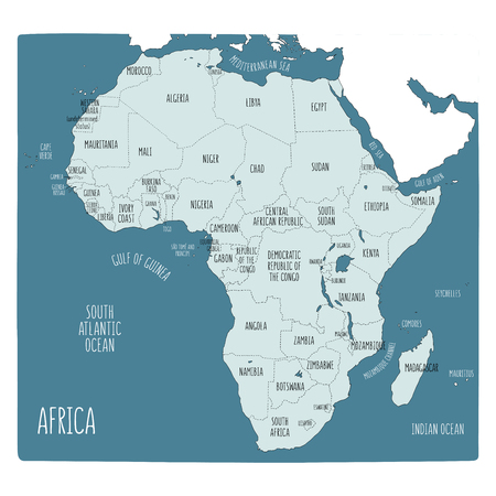 Vector political map of Africa. Hand drawn illustration of the African continent with labels in English. Blue shades Archivio Fotografico - 124931458