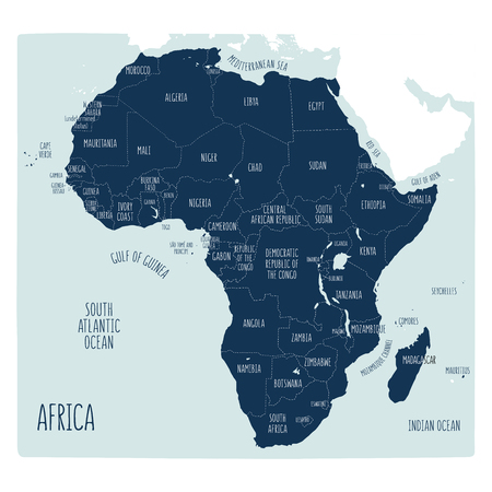 Vector political map of Africa. Hand drawn illustration of the African continent with labels in English. Blue shades