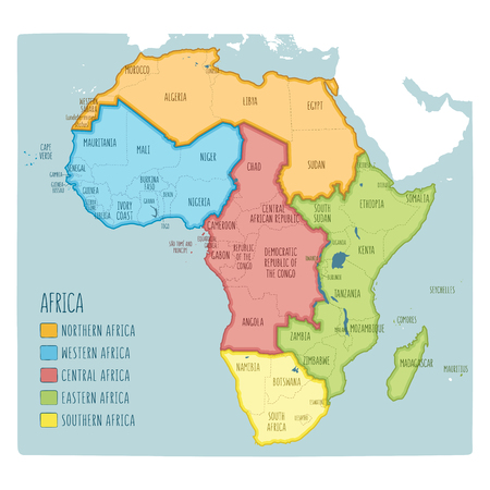 Vector political map of Africa. 5 regions of Africa. Colorful hand drawn illustration of the African continent with labels in English Illustration