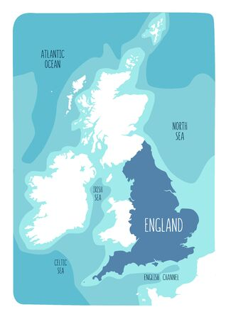 Hand drawn map of England and the British Isles. Colorful hand drawn vector illustration. Green