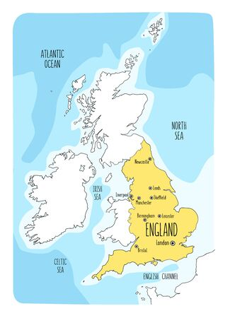 Hand drawn map of England and the British Isles. Colorful hand drawn vector illustration. Green Archivio Fotografico - 145411445