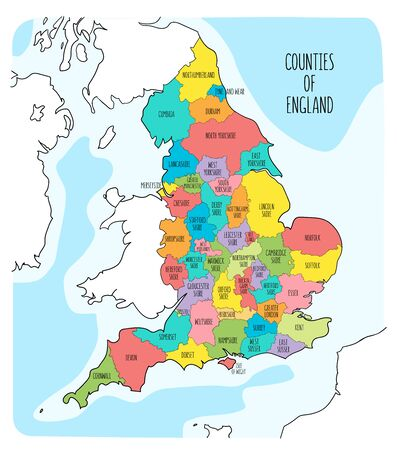 Hand drawn map of England with counties. Colorful hand drawn vector illustration Archivio Fotografico - 145411446