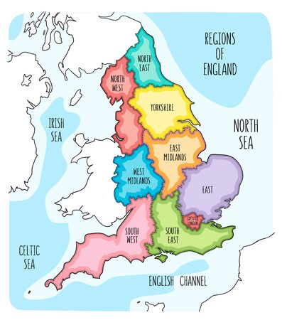 Hand drawn map of England with regions. Colorful hand drawn vector illustration Archivio Fotografico - 145411449