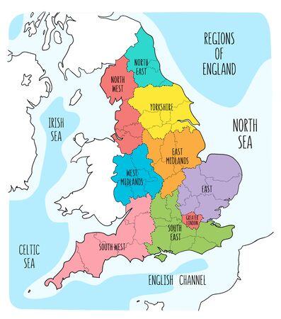 Hand drawn map of England with regions. Colorful hand drawn vector illustration