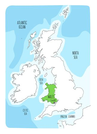Hand drawn map of Wales and the British Isles. Colorful hand drawn vector illustration. Green