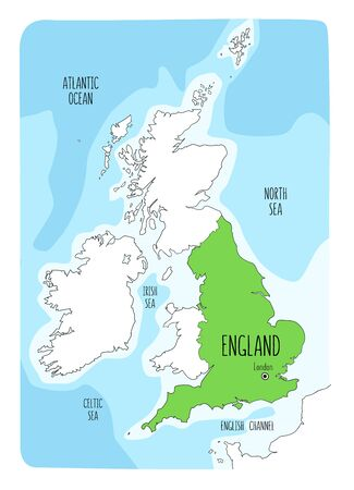 Hand drawn map of England and the British Isles. Colorful hand drawn vector illustration. Green Archivio Fotografico - 145348145