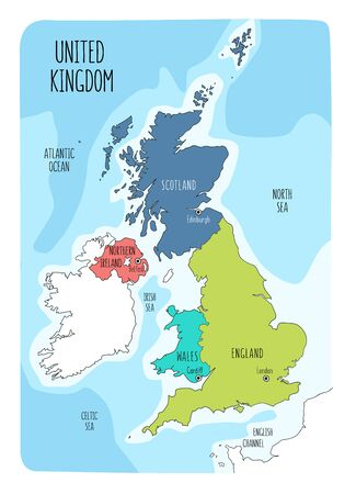 Hand drawn map of the United Kingdom including England, Wales, Scotland and Northern Ireland and their capital cities. Colorful hand drawn vector illustration. Archivio Fotografico - 145347921