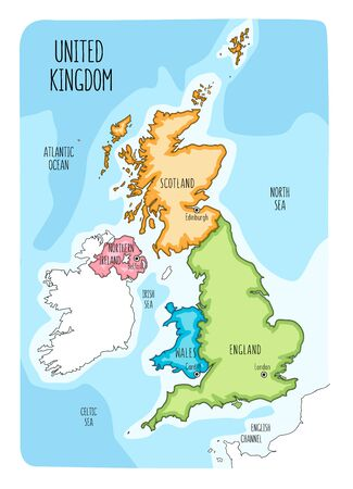Hand drawn map of the United Kingdom including England, Wales, Scotland and Northern Ireland and their capital cities. Colorful hand drawn vector illustration. Vettoriali