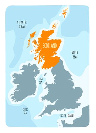 Hand drawn map of Scotland and the British Isles. Colorful hand drawn vector illustration. Archivio Fotografico - 145347920