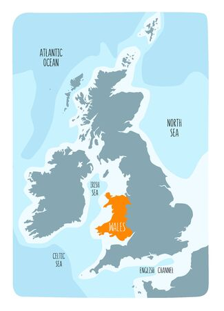 Hand drawn map of Wales and the British Isles. Colorful hand drawn vector illustration.