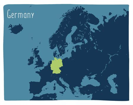 Colorful vector map of Germany highlighted in Europe