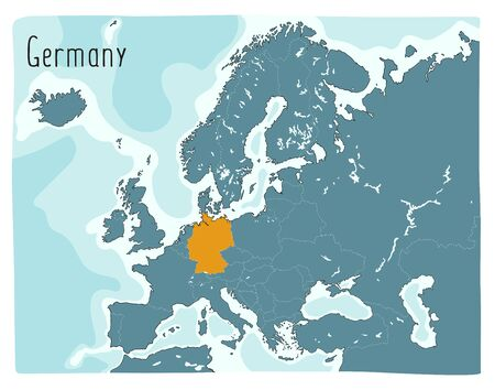 Colorful vector map of Germany highlighted in Europe Archivio Fotografico - 146255612