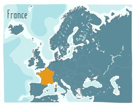 Colorful vector map of France highlighted in Europe