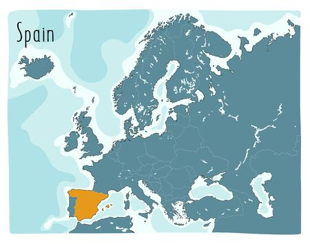 Colorful vector map of Spain highlighted in Europe Vettoriali