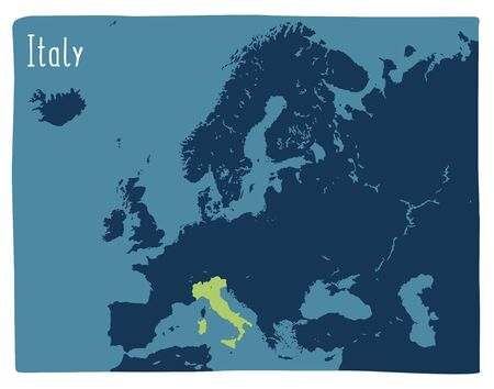 Colorful vector map of Italy highlighted in Europe Archivio Fotografico - 146255627