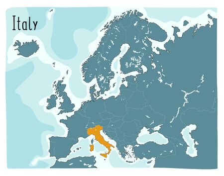 Colorful vector map of Italy highlighted in Europe