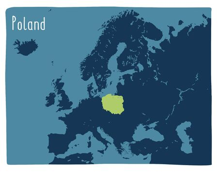 Colorful vector map of Poland highlighted in Europe