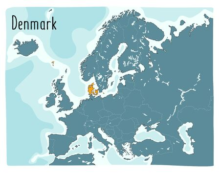 Colorful vector map of Denmark highlighted in Europe. Hand drawn illustration