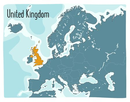 Colorful vector map of the UK highlighted in Europe. Hand drawn illustration