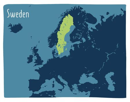 Colorful vector map of Sweden highlighted in Europe. Flat illustration