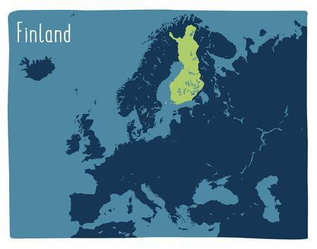 Colorful vector map of Finland highlighted in Europe. Flat illustration