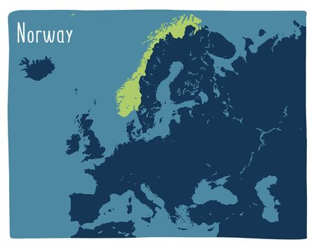Colorful vector map of Norway highlighted in Europe. Flat illustration Archivio Fotografico - 146255647