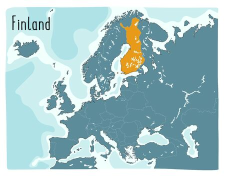 Colorful vector map of Finland highlighted in Europe. Hand drawn illustration Archivio Fotografico - 146255648
