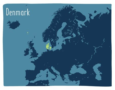 Colorful vector map of Denmark highlighted in Europe. Flat illustration